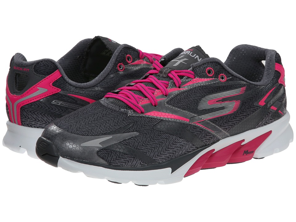 SKECHERS - Go Run 4 (Charcoal/Pink) Women's Running Shoes