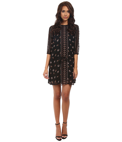 Maison Scotch - 3/4 Sleeve Sheer Printed Dress w/ Fringe Detail (Black) Women