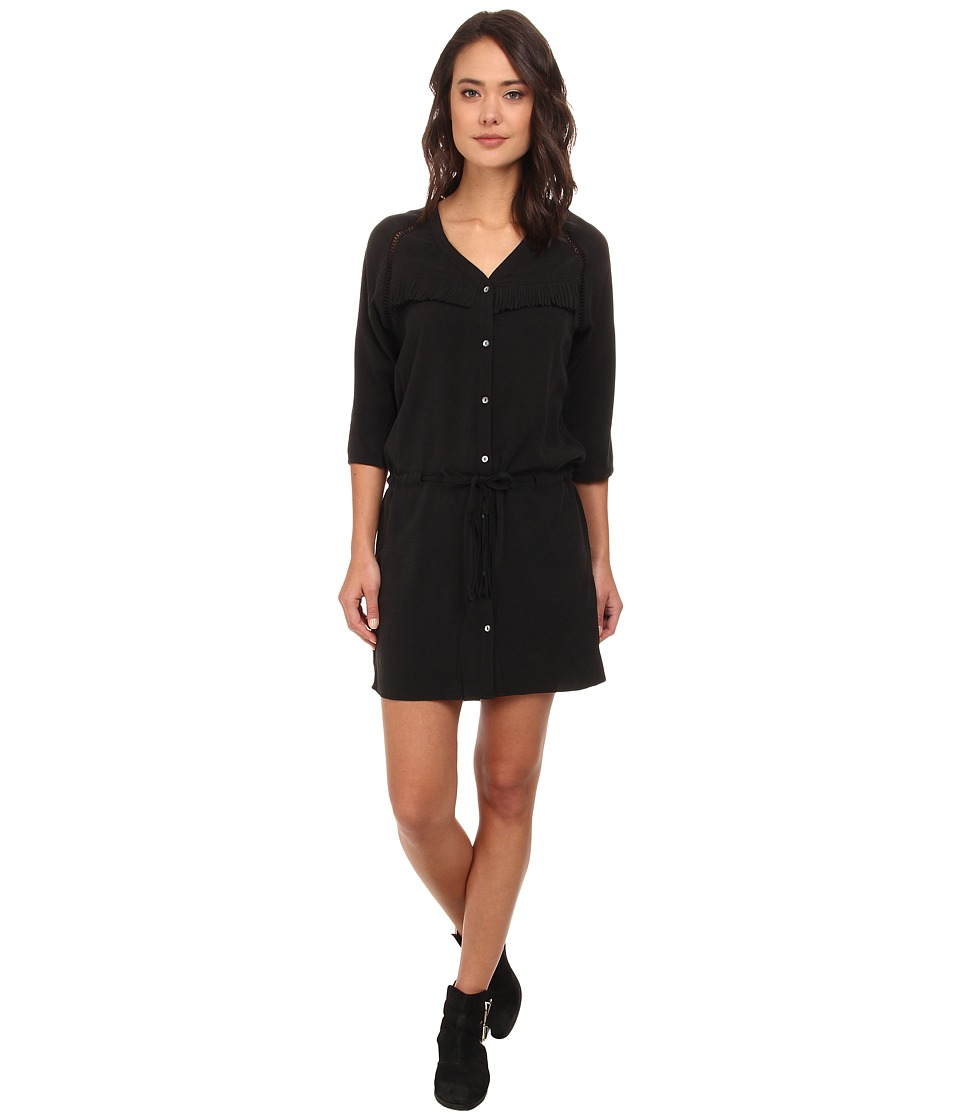 Maison Scotch - Button Down Dress in Stone Washed Tencel w/ Fringe Detail (Black) Women's Dress