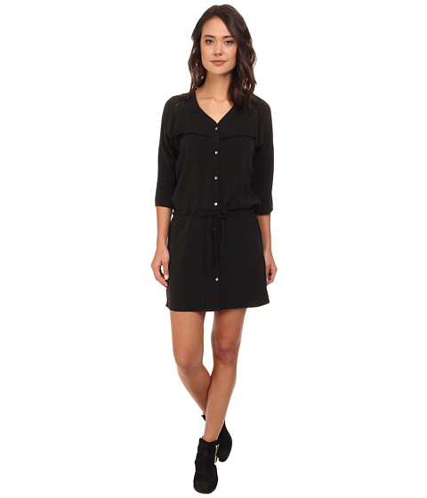Maison Scotch - Button Down Dress in Stone Washed Tencel w/ Fringe Detail (Black) Women
