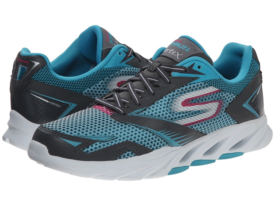 SKECHERS - Go Run Vortex (Charcoal/Blue) Women's Running Shoes