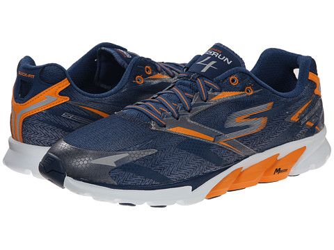 SKECHERS - Go Run 4 (Navy/Orange) Men's Running Shoes