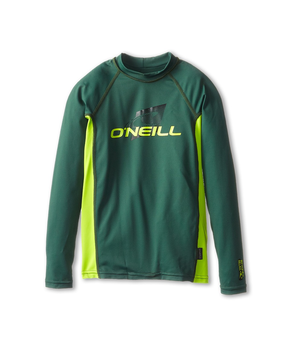 O'Neill Kids - Skins Long Sleeve Crew (Little Kids/Big Kids) (Combat/Lime/Combat) Kid's Swimwear