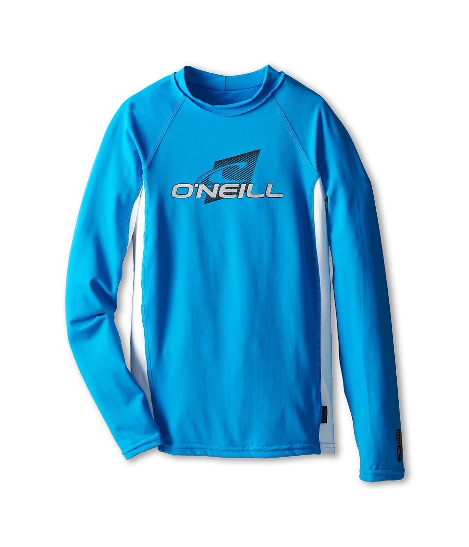 O'Neill Kids - Skins Long Sleeve Crew (Little Kids/Big Kids) (Sky/White/Sky) Kid's Swimwear