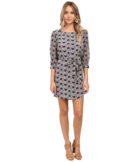 Brigitte Bailey - Print Crepe Dechine/Chiffon 3/4 Sleeve Shift Dress (Navy/Cream) Women's Dress
