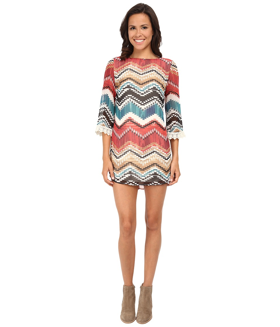 Gabriella Rocha - Chevron Print 3/4 Sleeve w/ Lace Shift Dress (Rust/Ivory) Women's Dress