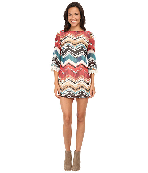 Gabriella Rocha - Chevron Print 3/4 Sleeve w/ Lace Shift Dress (Rust/Ivory) Women