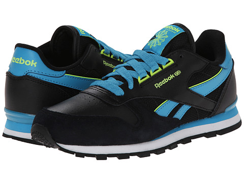 Reebok Kids - Classic Leather RE (Little Kid) (Black/Flight Blue/Solar Yellow) Boys Shoes