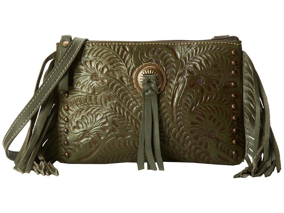American West - Honky Tonk Days Fringe Crossbody (Olive Green) Cross Body Handbags