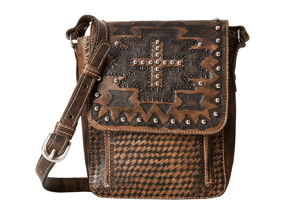 American West - Apache Crossbody Flap Bag (Distressed Charcoal Brown) Cross Body Handbags