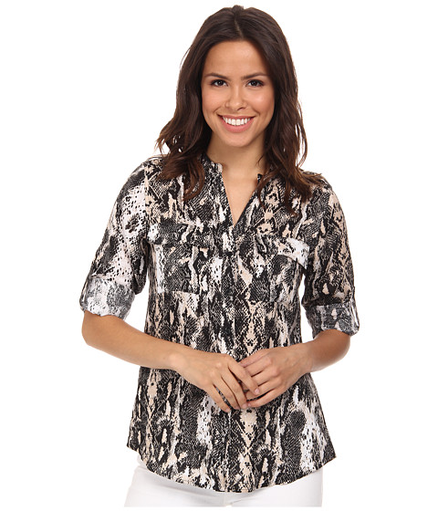 Calvin Klein - Printed Crew Neck Roll Sleeve (Black/Latte Combo) Women's Blouse