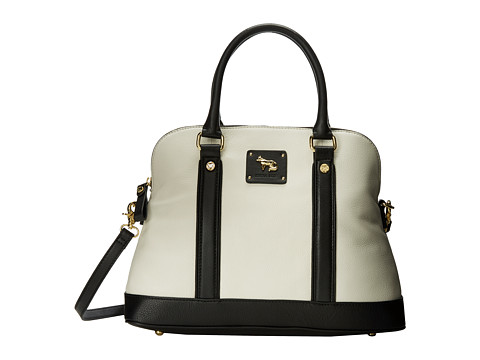 Emma Fox - Hampstead Dome Satchel (White/Black) Satchel Handbags