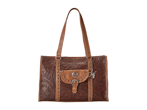 American West - Nomad Zip Top Travel Tote (Earth Brown/Tan) Tote Handbags