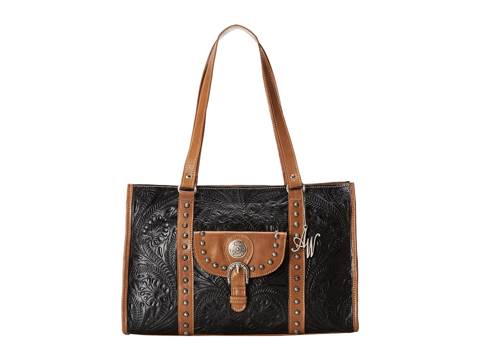 American West - Nomad Zip Top Travel Tote (Black/Tan) Tote Handbags