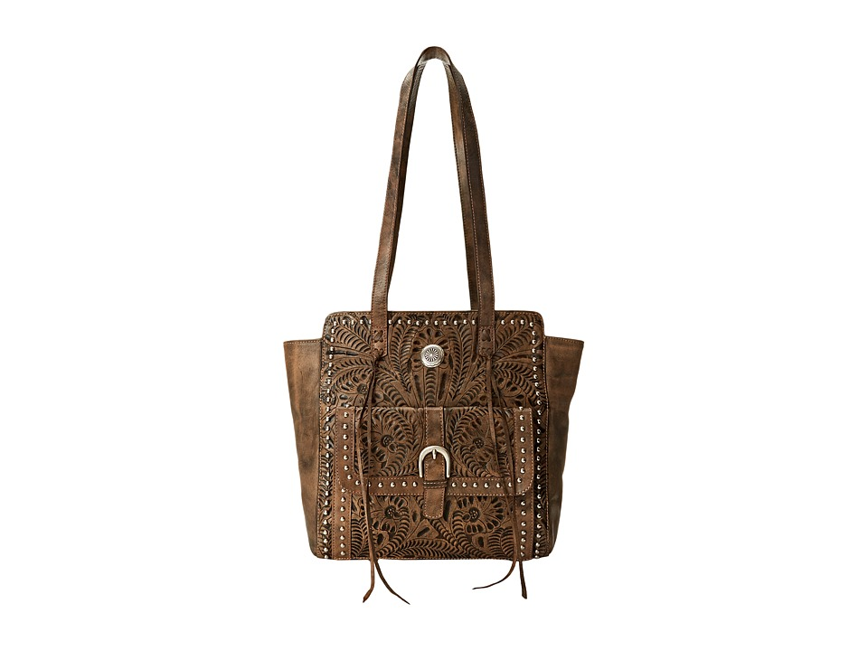 American West - Shane Zip Top Tote (Distressed Charcoal Brown) Tote Handbags