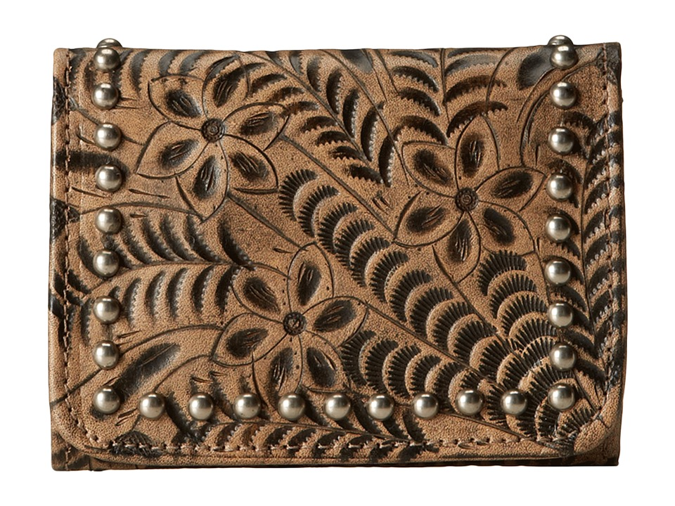 American West - Shane Tri-Fold French Wallet (Distressed Charcoal Brown) Wallet Handbags