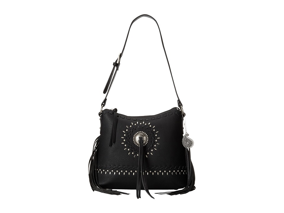 American West - Sioux Zip Top Shoulder Bag (Black) Shoulder Handbags