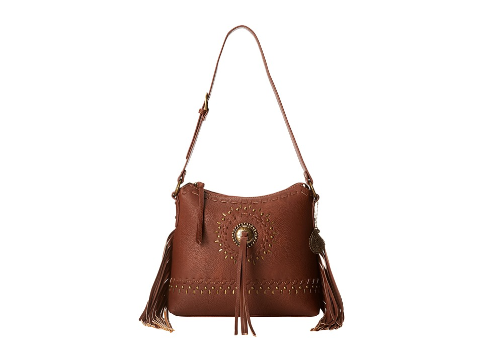 American West - Sioux Zip Top Shoulder Bag (Tan) Shoulder Handbags