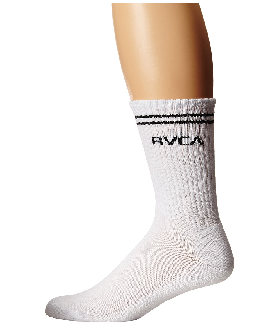 RVCA - Union Sock III (White) Men's Crew Cut Socks Shoes