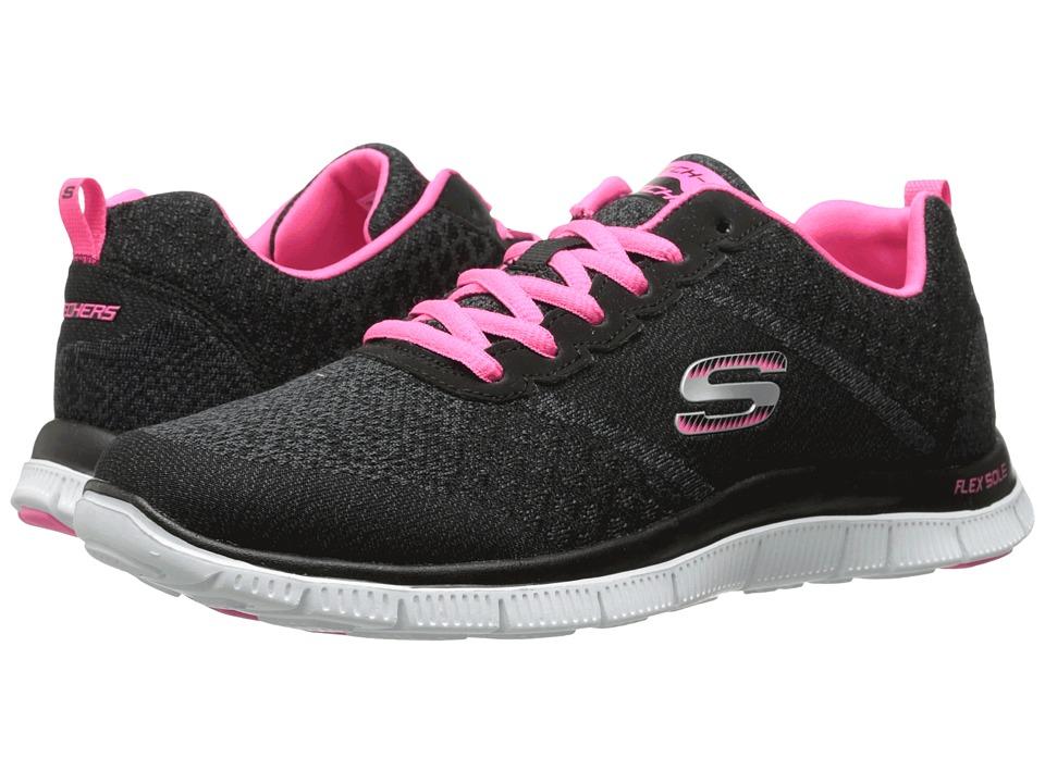 SKECHERS - Flex Appeal (Black Pink) Women's Lace up casual Shoes