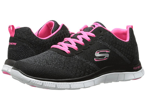 SKECHERS - Flex Appeal (Black Pink) Women's Lace up casual Shoes