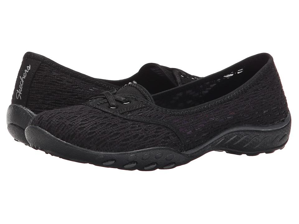 SKECHERS - Breathe-Easy - Cutie-Pie (Black) Women's Slip on Shoes