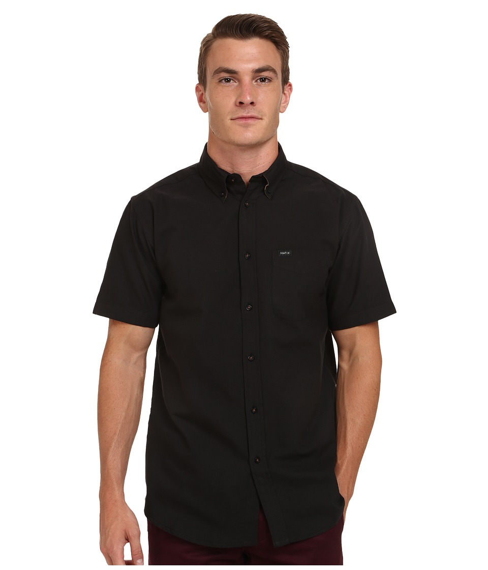 Matix Clothing Company - Tom Oxford Short Sleeve Woven Top (Black) Men's Short Sleeve Button Up