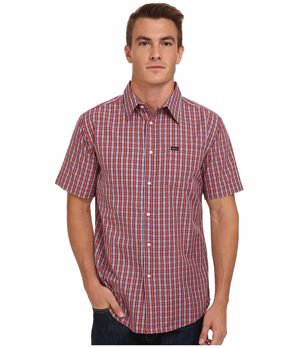 Matix Clothing Company - Strata Short Sleeve Woven Top (Red) Men's Short Sleeve Button Up