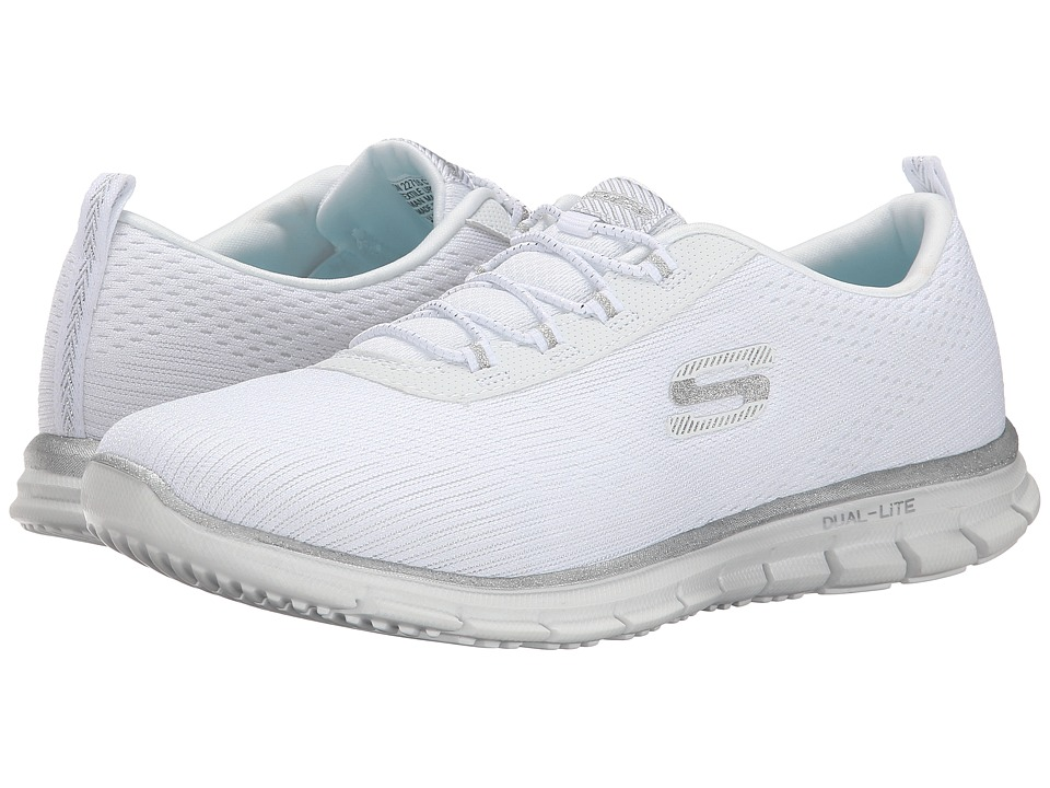 SKECHERS - Glider - Instant Fame (White Silver) Women's Shoes