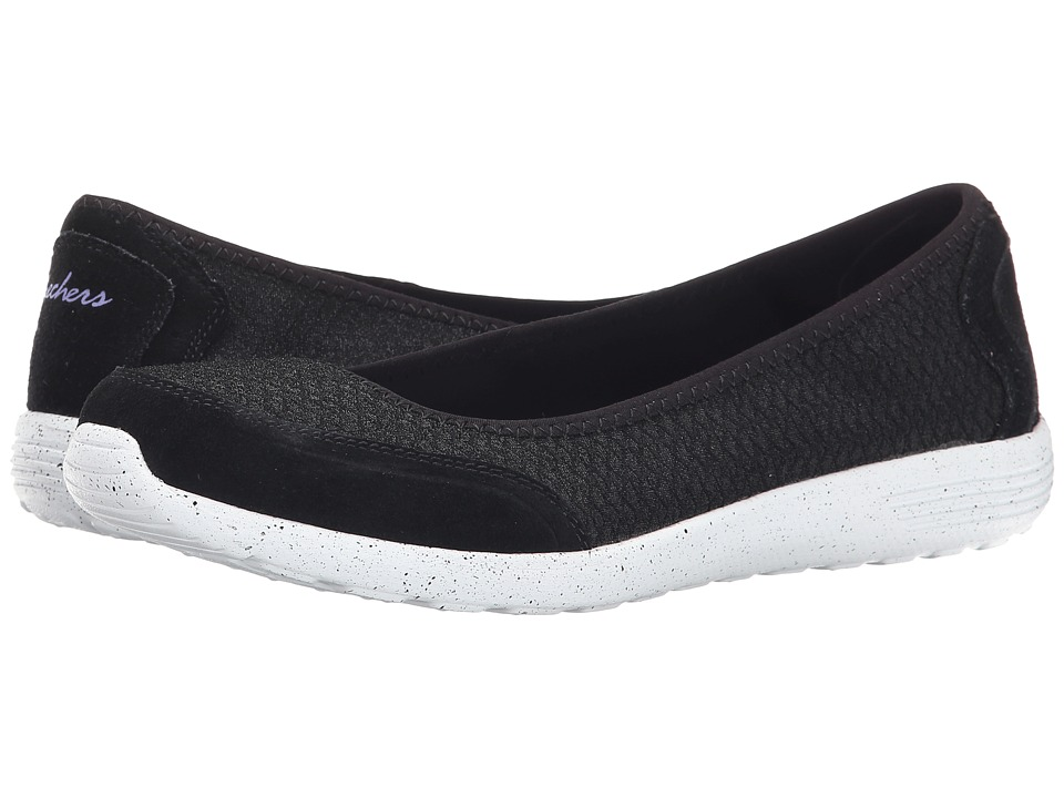 SKECHERS - Stardust (Black White) Women's Slip on Shoes