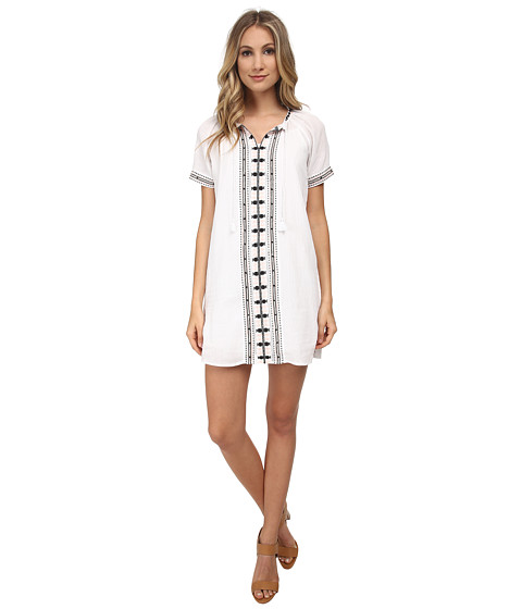 Maison Scotch - Summer Kaftan Dress w/ Colourful Embroidery Details (White) Women's Dress
