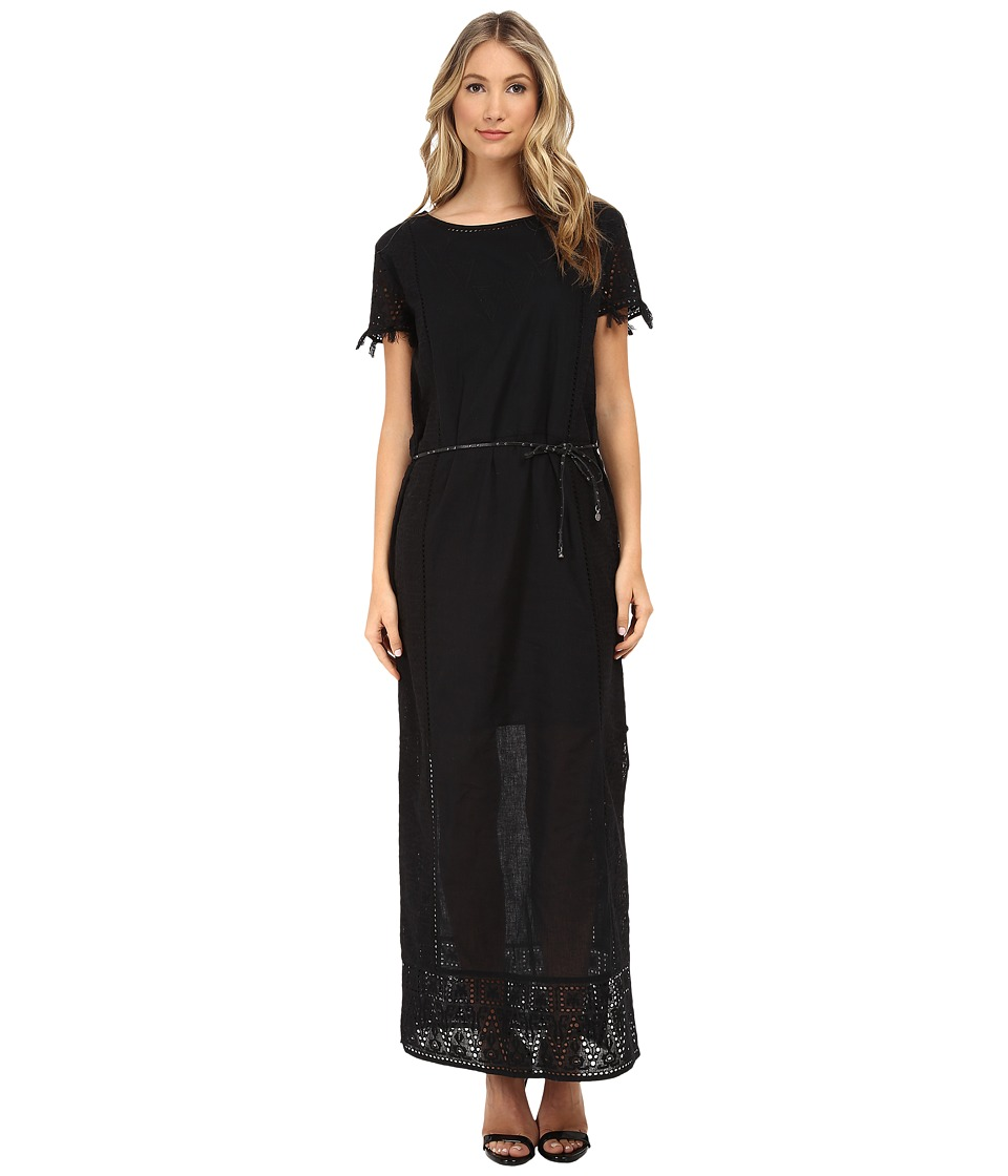 Maison Scotch - Short Sleeve Embroidered Maxi Dress (Black) Women's Dress