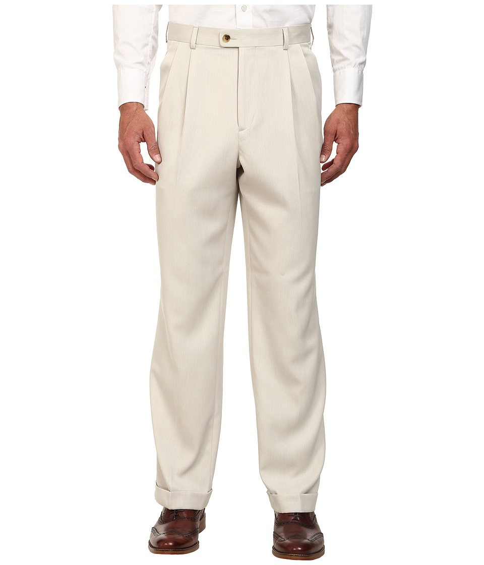 Perry Ellis Portfolio - Classic Fit Double Pleat Micro-Melange Pant (Sand) Men's Dress Pants