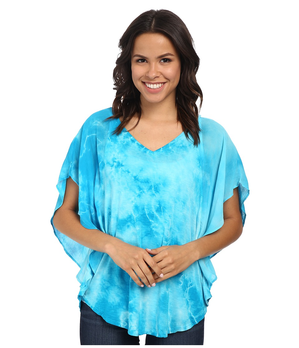 Miraclebody Jeans - Lisa Flutter Sleeve Top w/ Body-Shaping Inner Shell (Turquoise) Women's Short Sleeve Pullover