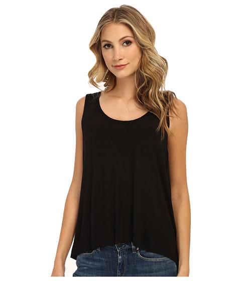 Free People - Rayon Linen Jersey Cruz Cape Tank Top (Black) Women's Sleeveless