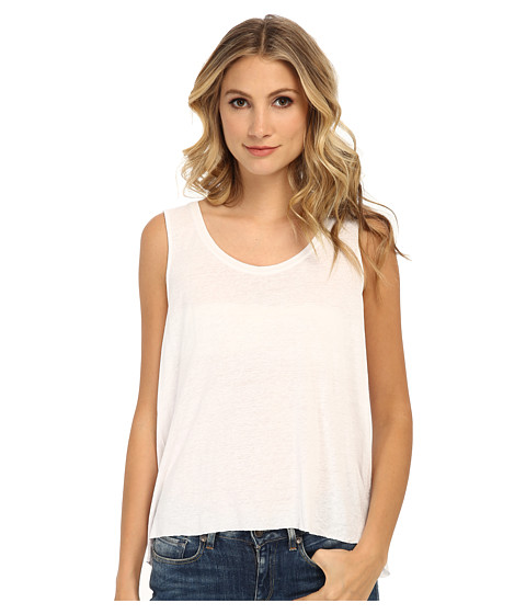 Free People - Rayon Linen Jersey Cruz Cape Tank Top (White) Women