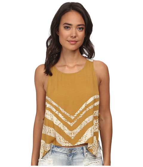 Free People - Slubby Crinkle Printed Touch Of Love (Goldenrod Combo) Women