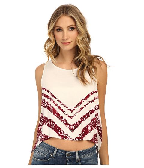 Free People - Slubby Crinkle Printed Touch Of Love (Ivory Combo) Women's Sleeveless