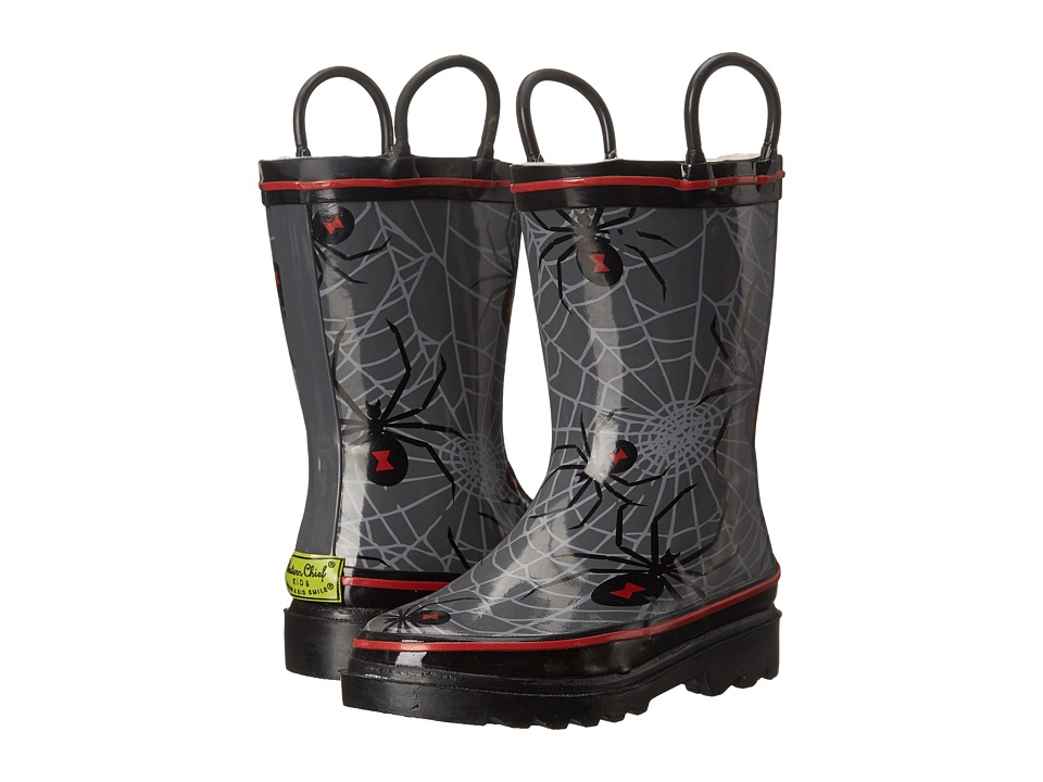 Western Chief Kids Spider Web Crawl Rainboots (Toddler/Little Kid/Big Kid) (Charcoal) Boys Shoes