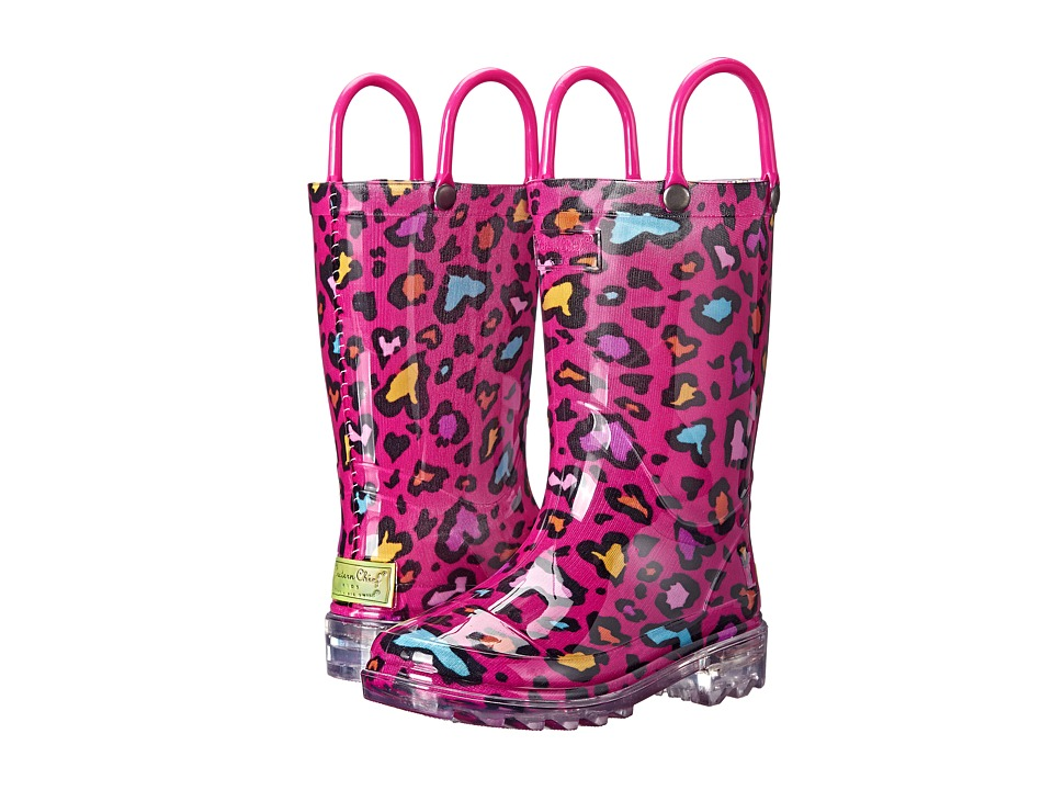 Western Chief Kids - Cutie Leopard Lighted (Toddler/Little Kid) (Pink) Girls Shoes
