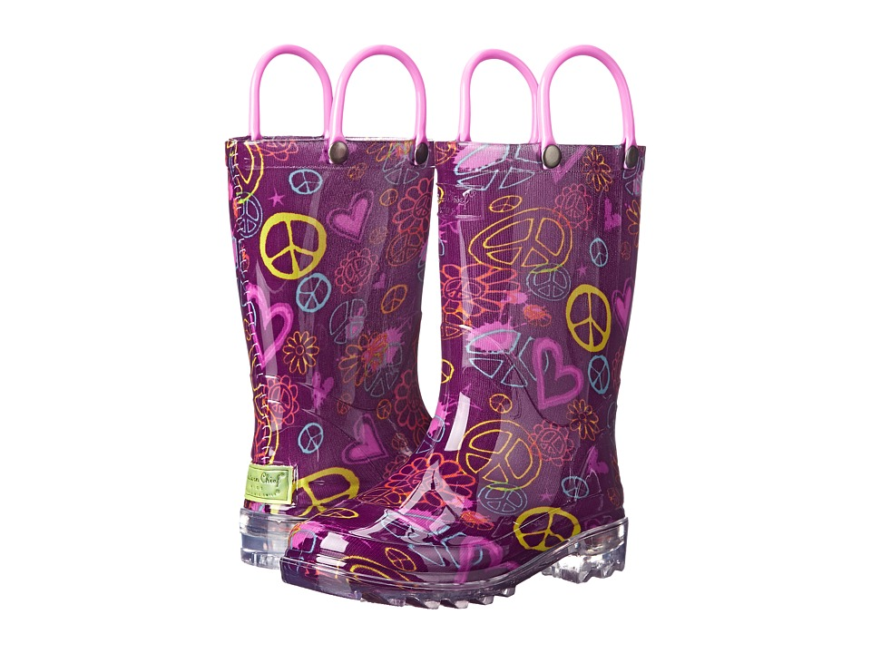 Western Chief Kids - Peace Love Lighted (Toddler/Little Kid) (Purple) Girls Shoes