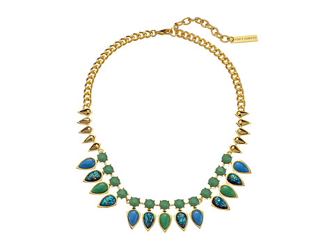 Vince Camuto - Mini Opal Stone Collar Necklace (Gold/Electric Blue/Blue Opal/Green) Necklace