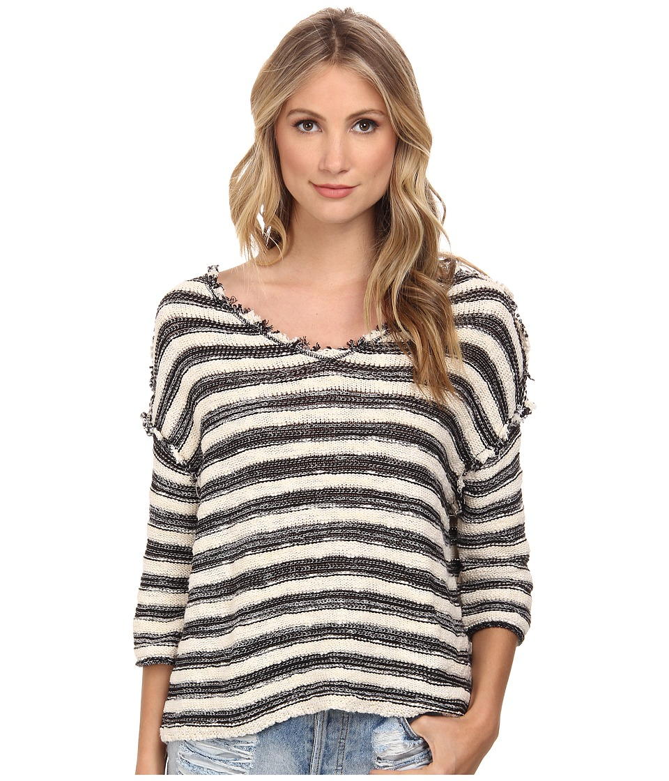 Free People - Spells Trouble Striped Pullover (Ivory/Black Combo) Women's Sweater