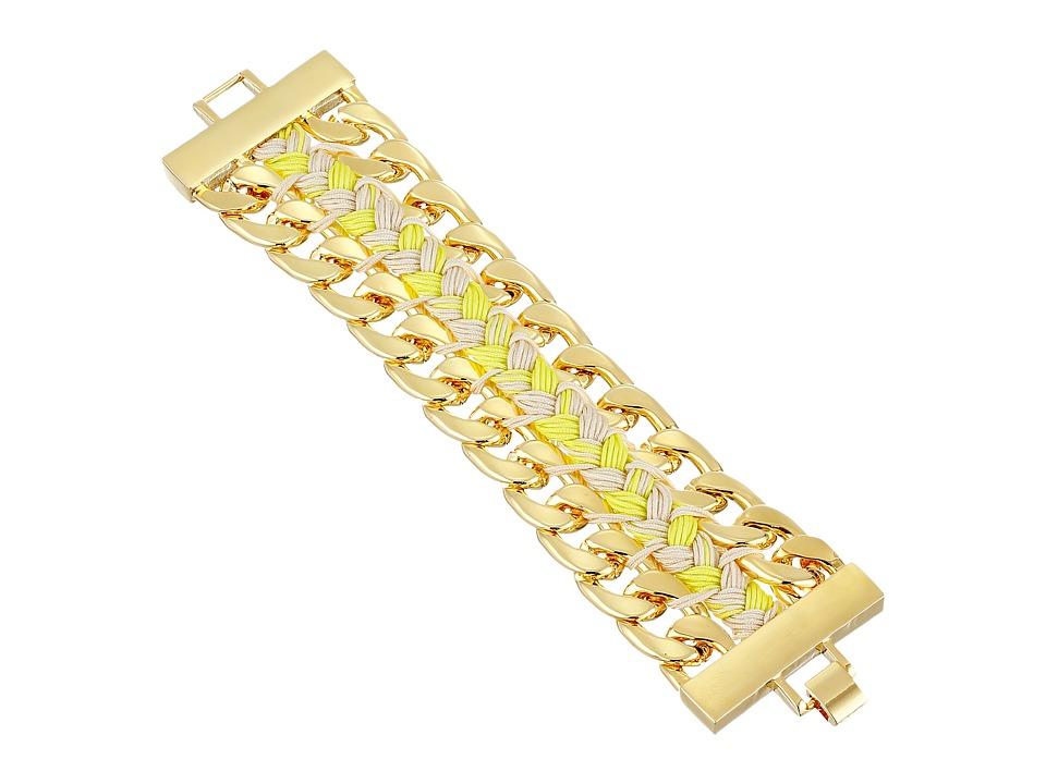 Vince Camuto - Double Chain Woven Bracelet (Gold/Citron/Taupe) Bracelet