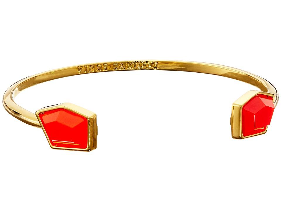 Vince Camuto - Stone Open Cuff Bracelet (Gold/Neon Coral) Bracelet