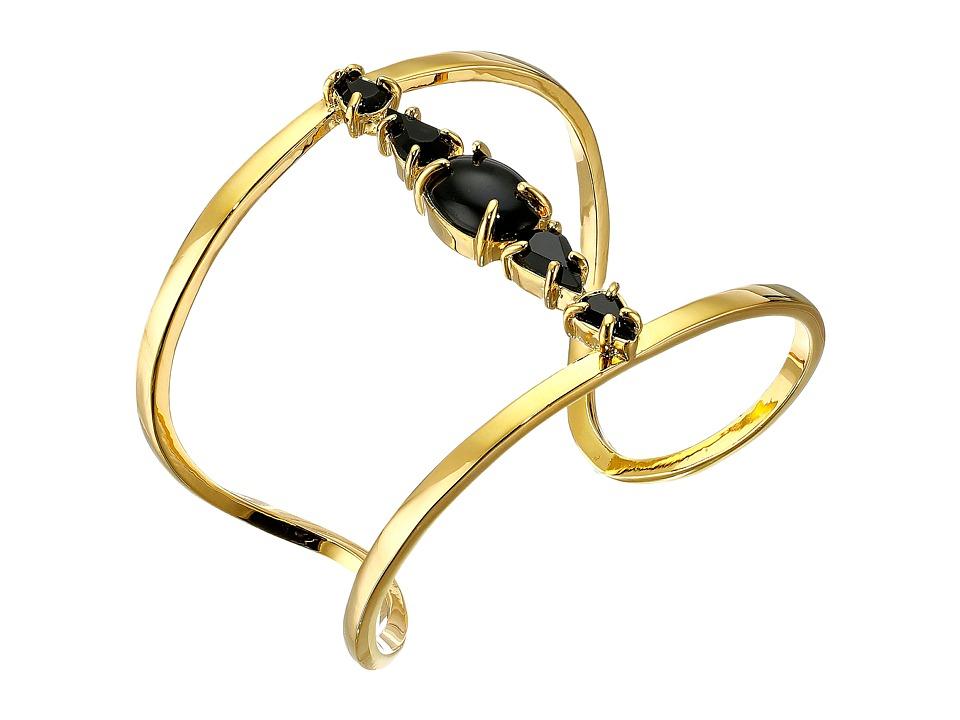 Vince Camuto - Stone Delicate Open Cuff Bracelet (Gold/Black) Bracelet