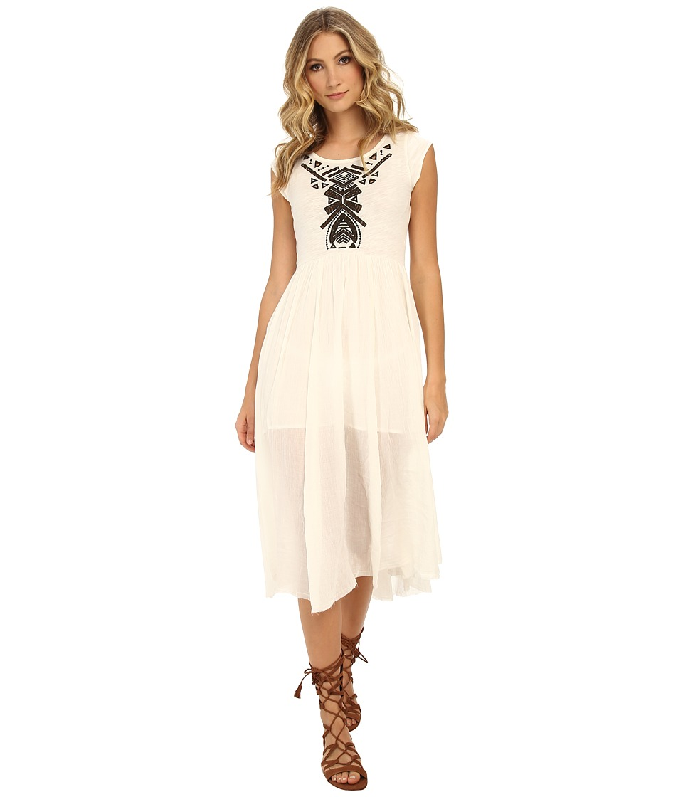 Free People - Toosaloosa Slub Meadows Embroidered Midi Dress (Ivory Combo) Women's Dress