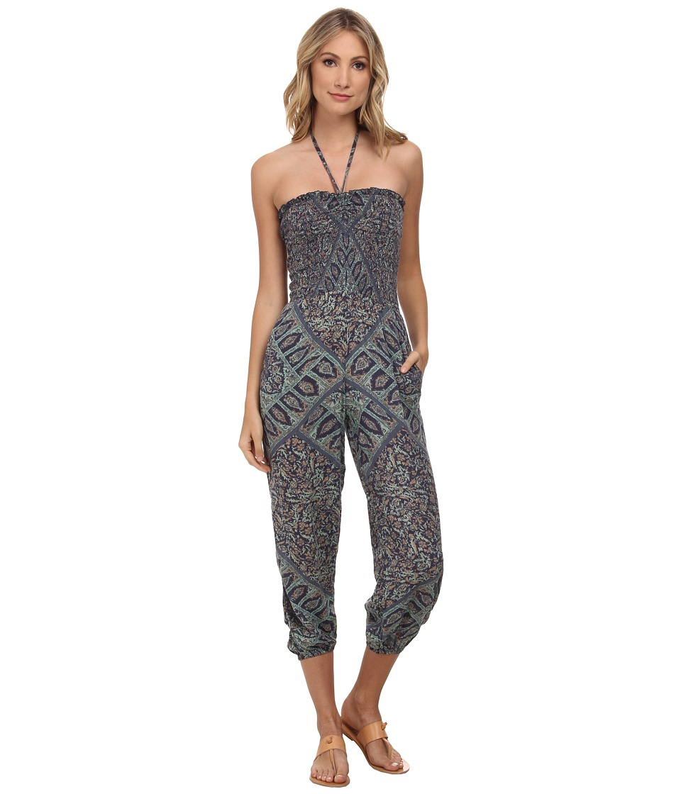 Free People - Printed Rayon Gauze Balloon One-Piece (Ocean Combo) Women