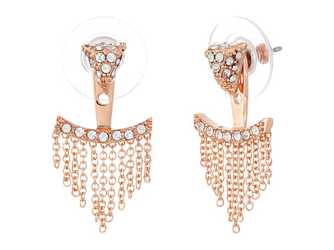 Vince Camuto - Triangle Fringe Ear Jacket Earrings (Rose Gold/Crystal) Earring