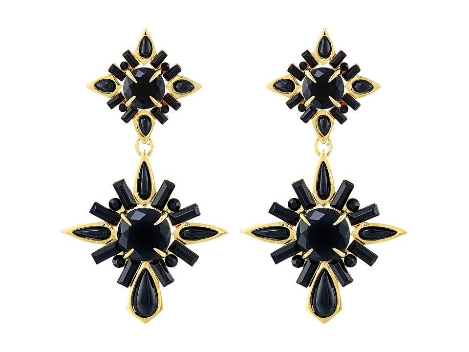 Vince Camuto - 2 Part Drama Post Earrings (Gold/Black) Earring